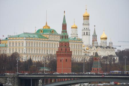 View of Moscow Kremlin, Grand Kremlin Palace and Kremlin cathedrals