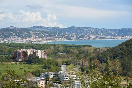 View on Mandelieu-La Napoule and Cannes on the background from the mountain in France