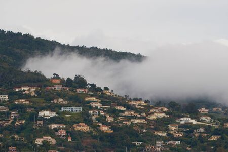 View on Mandelieu-La Napoule from the mountain in France. Steam formation in the mountains.