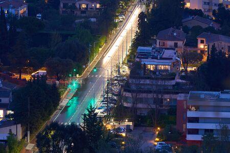 Evening view of Avenue de Frejus in Mandelieu-La Napoule, French Riviera, France.