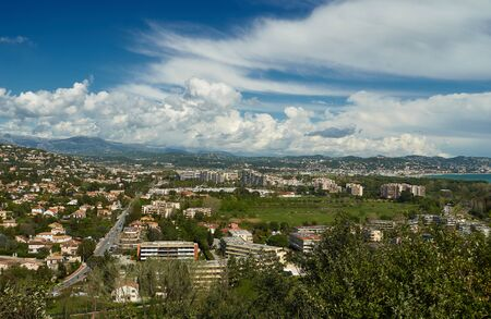 View on Mandelieu-La Napoule from the mountain in France. Cannes is on the right.