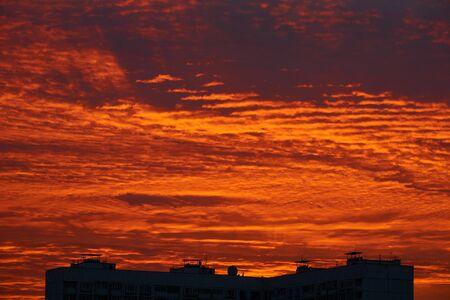 Beautiful dawn in Moscow in Babushkinskiy district