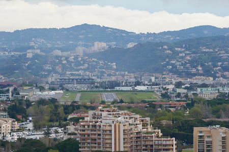 Mandelieu-La Napoule, France - April 04, 2019: View on Mandelieu-La Napoule and Cannes - Mandelieu Airport.