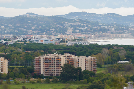 View on Mandelieu-La Napoule and Cannes on the right from the mountain in France