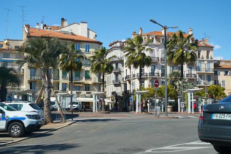 Cannes, France - April 04, 2019: View on square Place Bernard Cornut Gentille