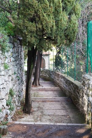 Stone stairs In the Monastere de Cimiez Garden in Nice, France