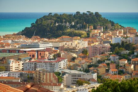Beautiful aerial view of Nice in France, sea and historic castle cemetry atop an old fortress.