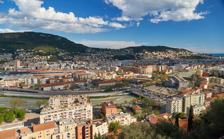 Nice, France - April 04, 2019: Beautiful aerial view of Nice, Paillon river and railroad from the Monastere de Cimiez Garden.