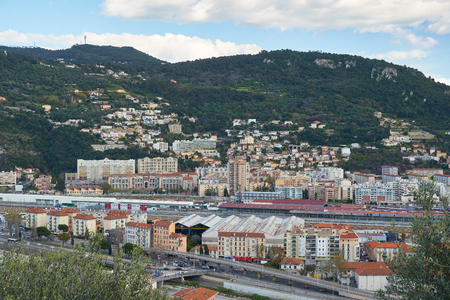 Nice, France - April 04, 2019: Beautiful view on the city, railroad and railway station from above.