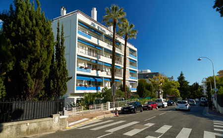 Nice, France - April 04, 2019: White apartment house on Boulevard Prince de Galles Editorial