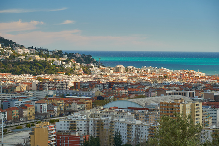 Nice, France - April 04, 2019: Beautiful aerial view of Nice and sea from the Monastere de Cimiez Garden. Editorial