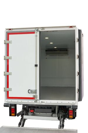 Interior of the cargo area of the new fridge van. Refrigeration unit inside. Isolated on white.