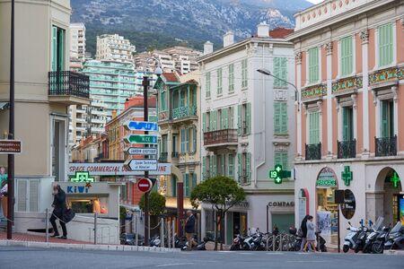 Monaco - April 05, 2019: Beautiful view of Rue Grimaldi street