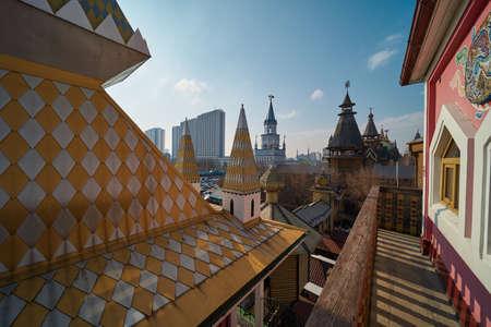 Moscow, Russia - March 07, 2020: Beautiful russian architecture in Izmailovo Kremlin