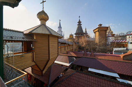 Moscow, Russia - March 07, 2020: Wooden architecture and Vernissage in Izmailovo Kremlin