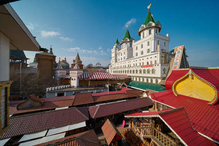 Moscow, Russia - March 07, 2020: Beautiful russian architecture and vernissage in Izmailovo Kremlin Editorial