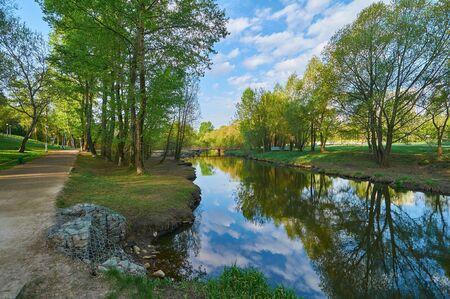 Springtime landscape on the Yauza river, Babushkinskiy district, Moscow