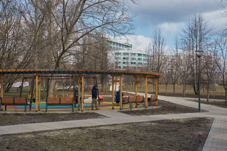Moscow, Russia - March 22, 2020: Playground in the park in Yuzhnoye Medvedkovo district.