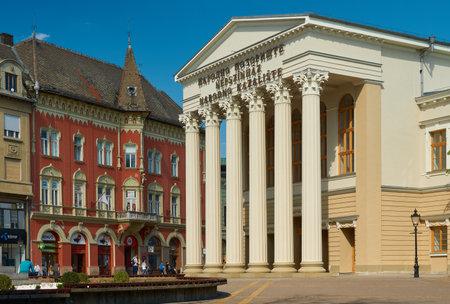 Novi Sad, Serbia - April 19, 2019: Novi Sad Nepszinghaz National Theater. Serbian text on the building is translated as national theater.