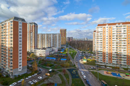 Moscow, Russia - November 07, 2020: View of Georgievskaya street in Moskovskiy.