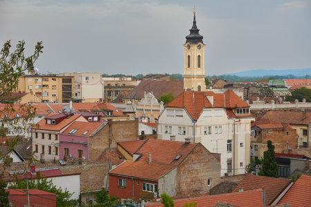 Rooftop view of Zemun and Crkva Uznesenja blazene Djevice Marije Church. Zemun is an old part of serbian Belgrade. Standard-Bild