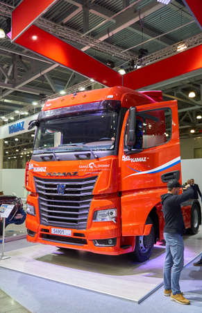 Moscow, Russia - September 05, 2019: International commercial vehicle auto show. KAMAZ Russian red heavy duty truck.