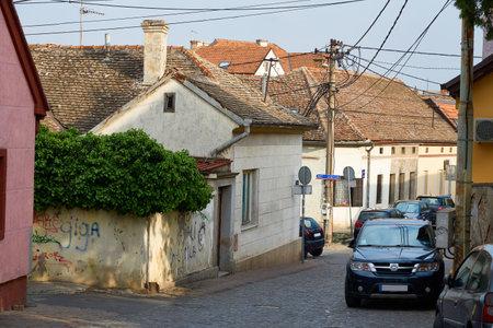 Belgrade, Serbia - April 23, 2019: Old houses in Zemun, part of Belgrade Editorial