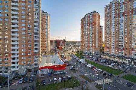 Moscow, Russia - November 07, 2020: View of Raduzhnaya street in Moskovskiy. Editorial