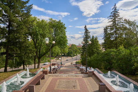 Lipetsk, Russia - August 16, 2020: Cascade of fountains in summertime