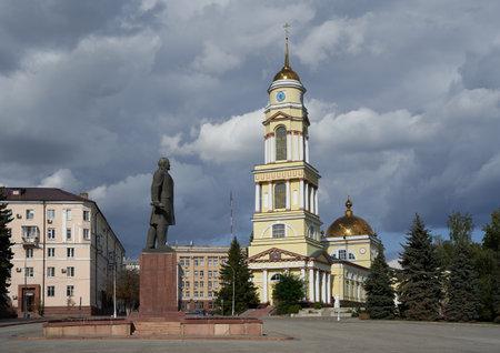 Lipetsk, Russia - August 16, 2020: Sobornaya Ploshchad square, monument to Vladimir lenin and Khristo-Rozhdestvenskiy Kafedral'nyy Sobor cathedral on the right
