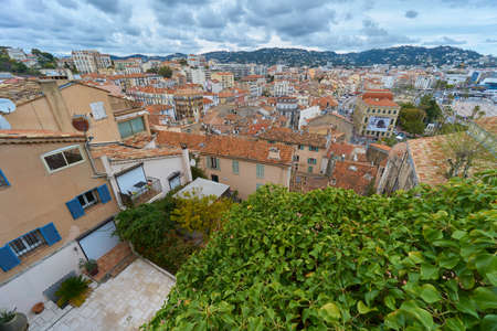 Cannes, France - April 06, 2019: Viewpoint over Cannes near the Church of Our Lady of Esperance
