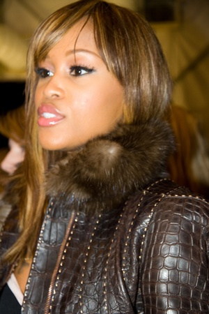 interviewed: EW YORK, NY - FEBRUARY 11: Rapper Eve is interviewed backstage at the Rebecca Minkoff Fall 2011 fashion show during Fashion week at Lincoln Center on February 11, 2011 in New York City. Editorial
