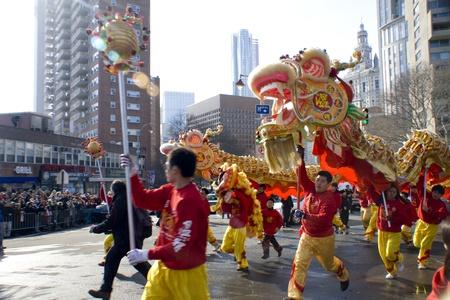 뉴욕, 뉴욕 -2011 년 2 월 6 일 : 토끼 중국 새 해 퍼레이드와 축제의 올해 에디토리얼