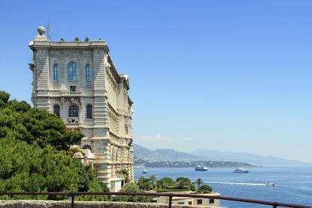 oceanographic: View to the Monaco bay with Oceanographic Museum