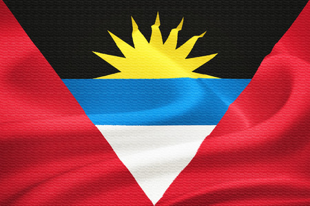 sun s: Flag of Antigua and Barbuda waving in the wind  Silk texture pattern