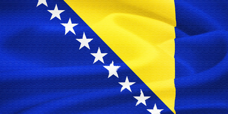 bosnia and  herzegovina: Flag of Bosnia and Herzegovina waving in the wind  Silk texture pattern