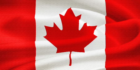quebec: Flag of Canada waving in the wind  Silk texture pattern