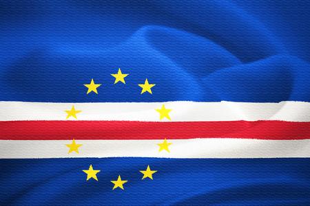 praia: flag of Cape Verde waving in the wind  Silk texture pattern