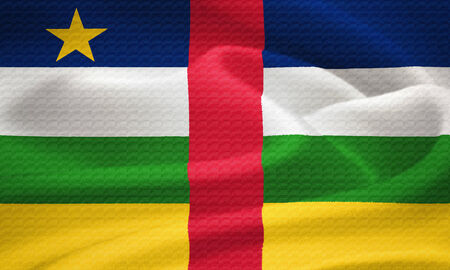 central african republic: Flag of the Central African Republic waving in the wind  Silk texture pattern