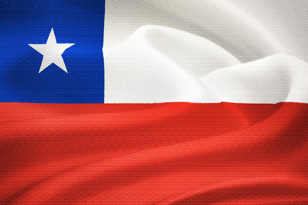 waving flag: Flag of Chile waving in the wind. Silk texture pattern