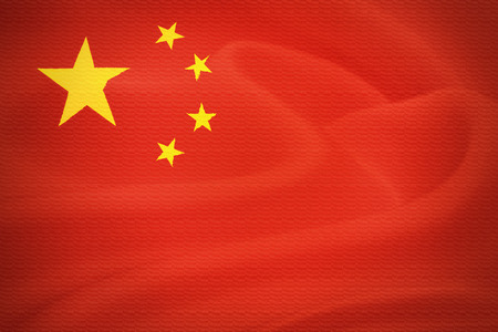 chineese: Flag of China waving in the wind. Silk texture pattern Stock Photo