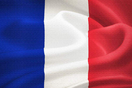tricolour: Flag of France waving in the wind. Silk texture pattern