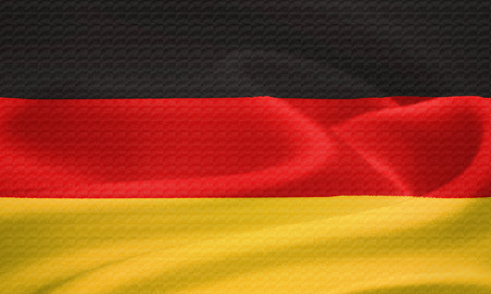 east germany: Flag of Germany waving in the wind. Silk texture pattern