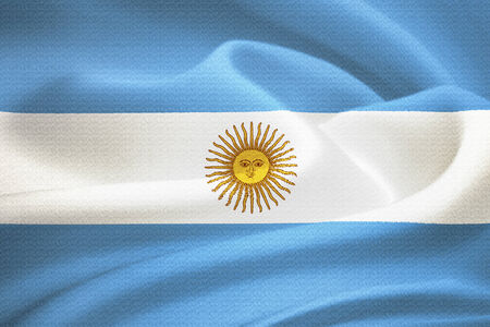 argentum: flag of  Argentina waving in the wind. Silk texture pattern