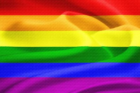 bandera gay: Bandera del arco iris gay ondeando en el viento. Patr�n de textura de seda