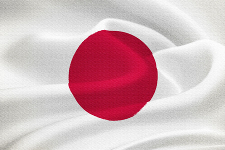 hinomaru: Flag of Japan waving in the wind. Silk texture pattern