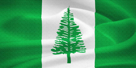 kingston: Flag of the Norfolk Island waving in the wind. Silk texture pattern