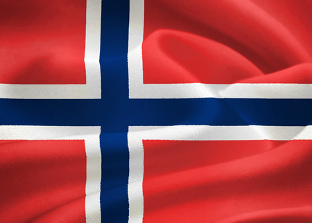 flag of Norway waving in the wind. Silk texture pattern photo