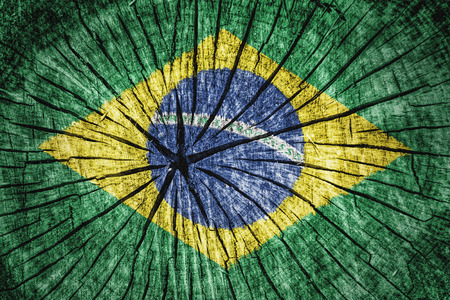detachment: flag of  Brazil on cracked wooden texture Stock Photo
