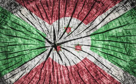 flag of Burundi on cracked wooden texture